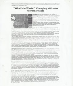 """Whats In Wast"" changing attitudes towards waste"